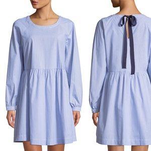 Ribbon-Tie Long-Sleeve Cotton poplin Shirtdress